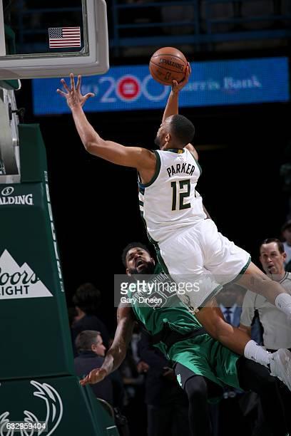 Jabari Parker of the Milwaukee Bucks goes to the basket against the Boston Celtics on January 28 2017 at the BMO Harris Bradley Center in Milwaukee...