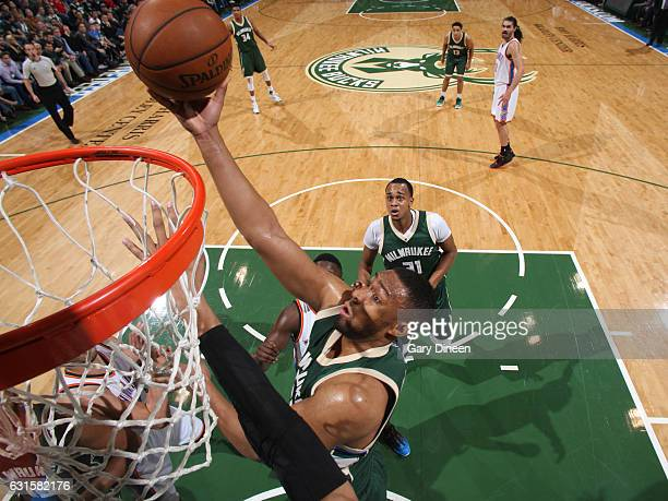 Jabari Parker of the Milwaukee Bucks goes up for a lay up against the Oklahoma City Thunder on January 2 2017 at the BMO Harris Bradley Center in...