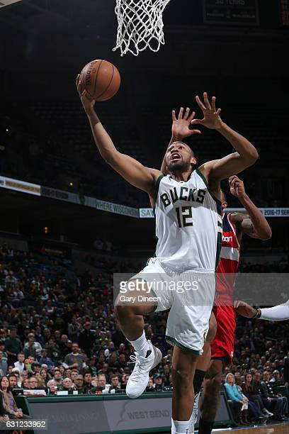 Jabari Parker of the Milwaukee Bucks goes up for a lay up during a game against the Washington Wizards on January 8 2017 at the BMO Harris Bradley...