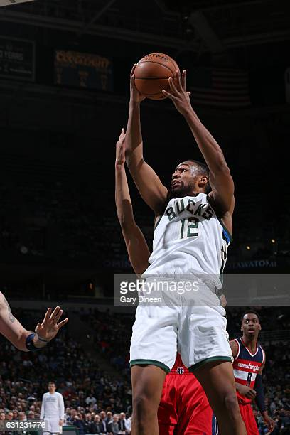 Jabari Parker of the Milwaukee Bucks goes up for a shot during a game against the Washington Wizards on January 8 2017 at the BMO Harris Bradley...