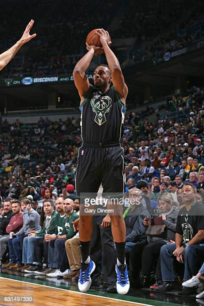 Jabari Parker of the Milwaukee Bucks goes up for a shot during a game against the New York Knicks on January 6 2017 at the BMO Harris Bradley Center...