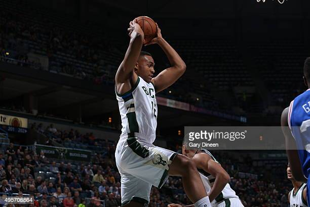 Jabari Parker of the Milwaukee Bucks handles the ball against the Philadelphia 76ers on November 4 2015 at the BMO Harris Bradley Center in Milwaukee...