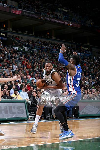 Jabari Parker of the Milwaukee Bucks handles the ball against the Philadelphia 76ers on January 25 2017 at the BMO Harris Bradley Center in Milwaukee...