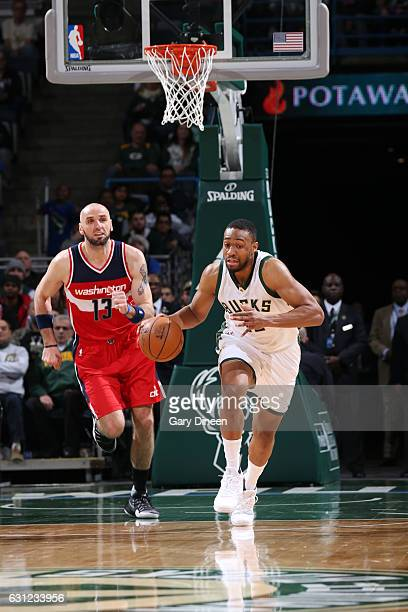 Jabari Parker of the Milwaukee Bucks handles the ball during a game against the Washington Wizards on January 8 2017 at the BMO Harris Bradley Center...