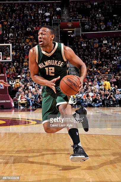Jabari Parker of the Milwaukee Bucks handles the ball during the game against the Cleveland Cavaliers on November 19 2015 at Quicken Loans Arena in...