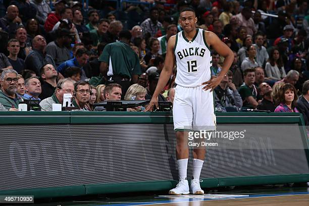 Jabari Parker of the Milwaukee Bucks looks on during the game against the Philadelphia 76ers on November 4 2015 at the BMO Harris Bradley Center in...