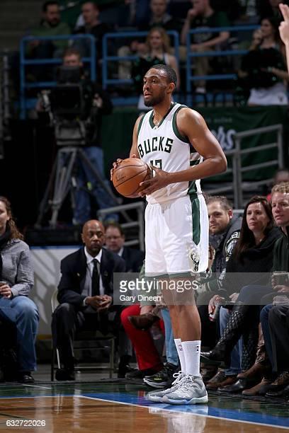 Jabari Parker of the Milwaukee Bucks looks to passes the ball against the Philadelphia 76ers on January 25 2017 at the BMO Harris Bradley Center in...