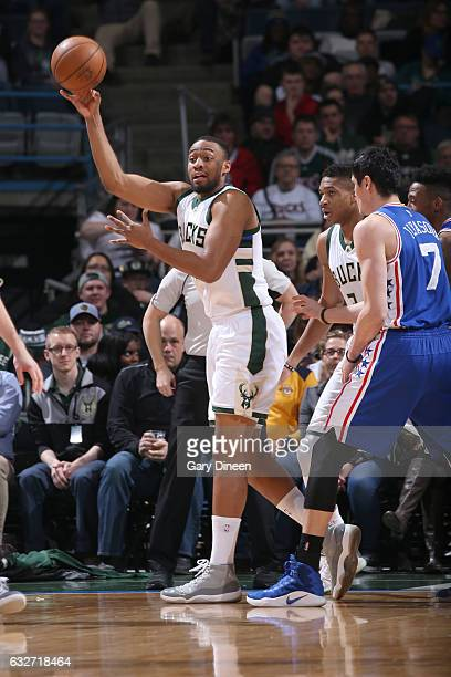 Jabari Parker of the Milwaukee Bucks passes the ball against the Philadelphia 76ers on January 25 2017 at the BMO Harris Bradley Center in Milwaukee...
