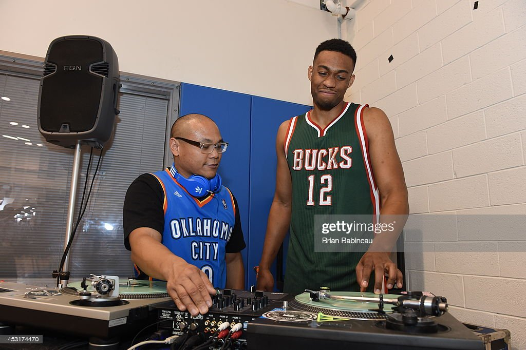 Jabari Parker #12 of the Milwaukee Bucks poses during the 2014 NBA rookie photo shoot on August 3, 2014 at the Madison Square Garden Training Facility in Tarrytown, New York.