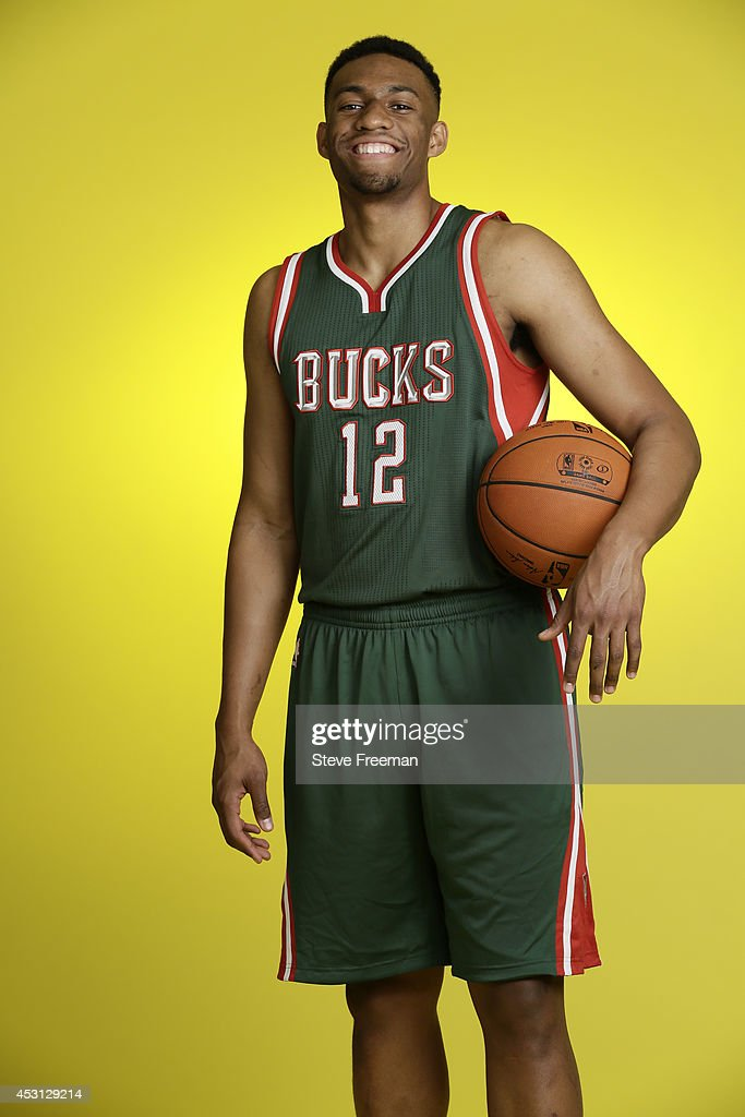 Jabari Parker #12 of the Milwaukee Bucks poses for a portrait during the 2014 NBA rookie photo shoot on August 3, 2014 at the Madison Square Garden Training Facility in Tarrytown, New York.