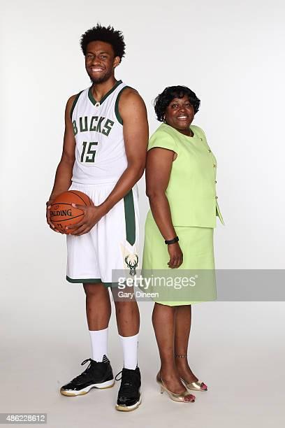 Jabari Parker of the Milwaukee Bucks poses for portraits with his former grade school teacher Clintonia McNeal as part of the TeachersCount program...