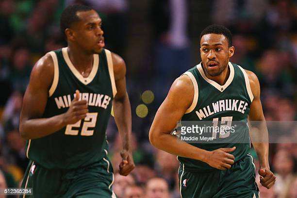 Jabari Parker of the Milwaukee Bucks runs down court during the third quarter against the Boston Celtics at TD Garden on February 25 2016 in Boston...