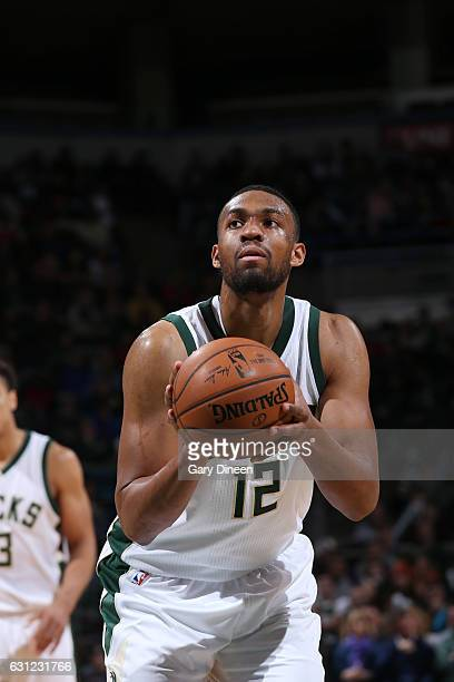 Jabari Parker of the Milwaukee Bucks shoots a free throw during a game against the Washington Wizards on January 8 2017 at the BMO Harris Bradley...