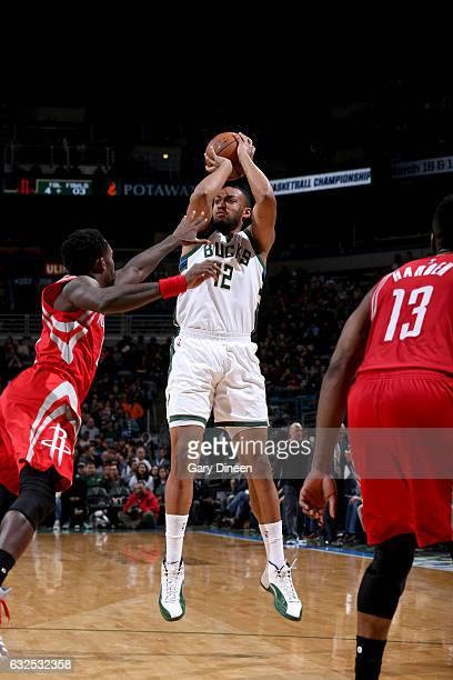 Jabari Parker of the Milwaukee Bucks shoots the ball against the Houston Rockets on January 23 2017 at the BMO Harris Bradley Center in Milwaukee...