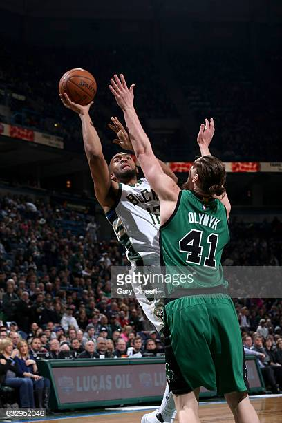 Jabari Parker of the Milwaukee Bucks shoots the ball against the Boston Celtics on January 28 2017 at the BMO Harris Bradley Center in Milwaukee...