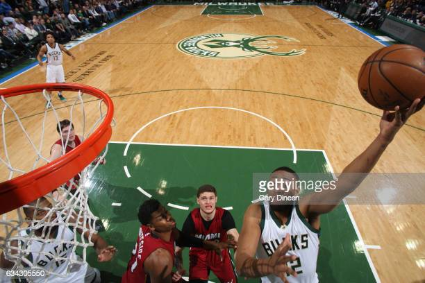 Jabari Parker of the Milwaukee Bucks shoots the ball against the Miami Heat on February 8 2017 at the BMO Harris Bradley Center in Milwaukee...