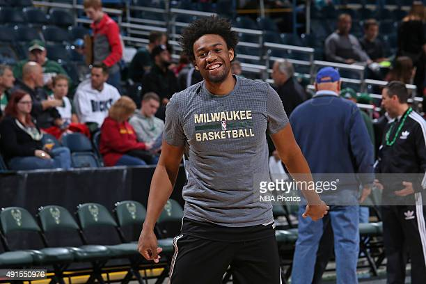 Jabari Parker of the Milwaukee Bucks smiles during the 3rd Annual Open Practice and Fan Fest on October 3 2015 at the BMO Harris Bradley Center in...