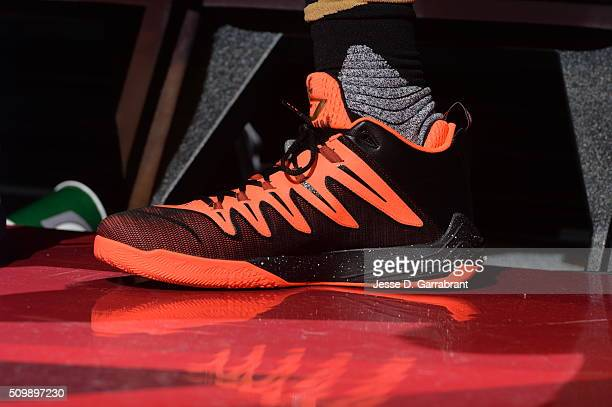 Jabari Parker of the US Team showcases his sneakers during the BBVA Compass Rising Stars Challenge as part of the 2016 NBA All Star Weekend on...