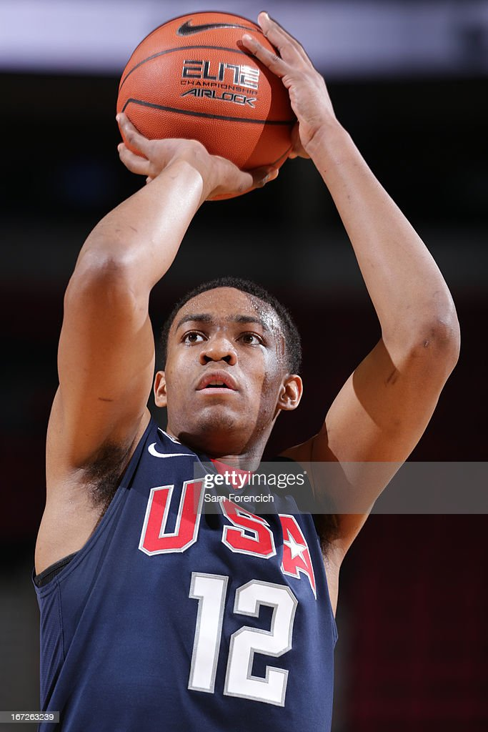 Jabari Parker #12 of the USA Junior Select Team shoots a free throw against the World Select Team during the 2013 Nike Hoop Summit game on April 20, 2013 at the Rose Garden Arena in Portland, Oregon.