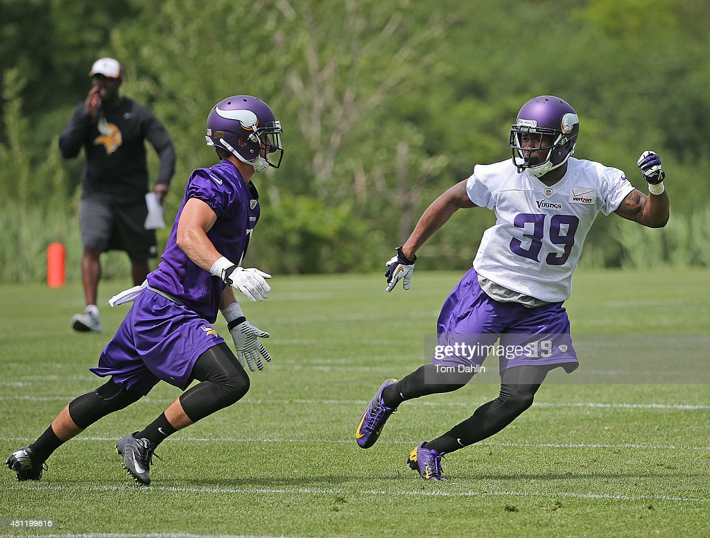 <a gi-track='captionPersonalityLinkClicked' href=/galleries/search?phrase=Jabari+Price&family=editorial&specificpeople=7197314 ng-click='$event.stopPropagation()'>Jabari Price</a> #39 of the Minnesota Vikings works out during Minicamp sessions at the Winter Park training facility on June 18, 2014 in Eden Prairie, Minnesota.