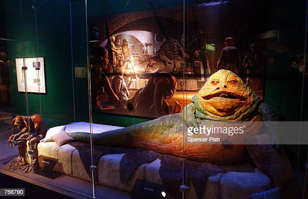 Jabba the Hut is displayed April 4 2002 at the exhibit 'Star Wars The Magic of the Myth' at the Brooklyn Museum of Art in Brooklyn New York The...