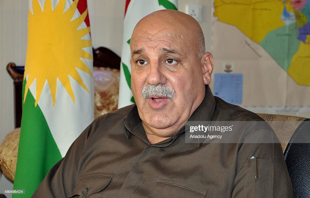 Jabbar Yaver, deputy Peshmerga Minister of Kurdish Regional Government, speaks to the media about the recent events in his country on June 12, 2014 in Irbil, Iraq.