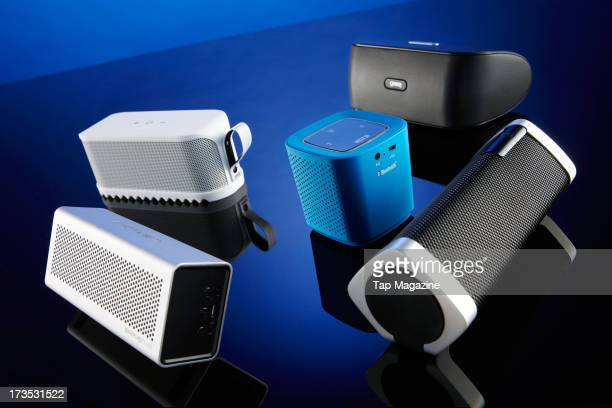 Jabra Solemate Beacon Phoenix Gear4 Streetparty Wireless Philips ShoqBox SB7300 and Braven 650 Bluetooth speaker systems photographed during a studio...