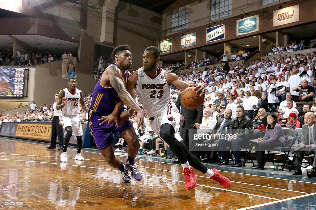 Jabril Trawick #23 from the Sioux Falls Skyforce drives against Ryan Gomes #33 from the Los Angeles Defenders during the NBA D-League Finals Game 2 at the Sanford Pentagon April 26, 2016 in Sioux Falls, South Dakota.