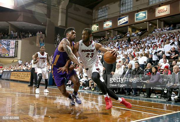 Jabril Trawick from the Sioux Falls Skyforce drives against Ryan Gomes from the Los Angeles Defenders during the NBA DLeague Finals Game 2 at the...