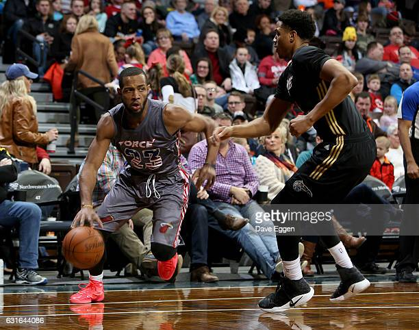 Jabril Trawick from the Sioux Falls Skyforce drives against the Erie Bayhawks at the Sanford Pentagon January 13 2017 in Sioux Falls South Dakota...