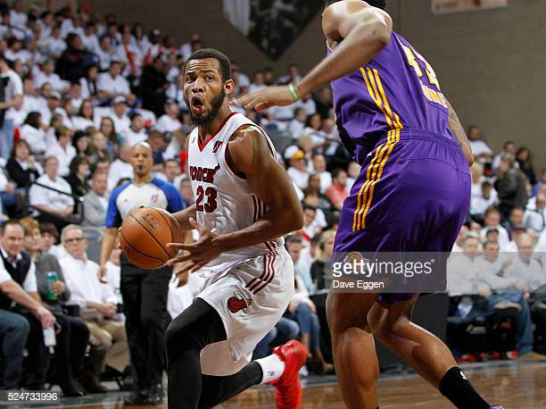 Jabril Trawick from the Sioux Falls Skyforce drives against the Los Angeles Defenders during the NBA DLeague Finals Game 2 at the Sanford Pentagon...