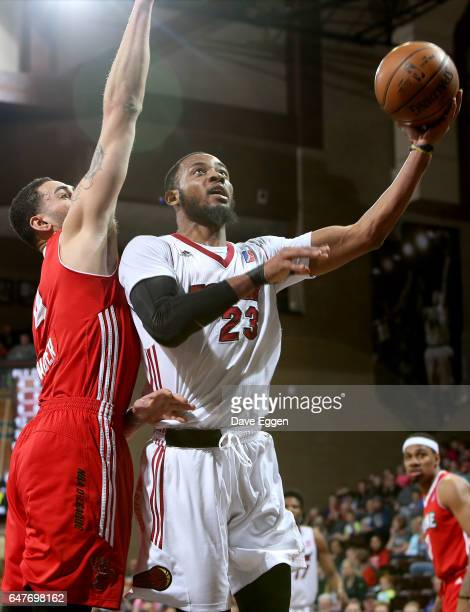 Jabril Trawick from the Sioux Falls Skyforce takes the ball to the basket against the Maine Red Claws at the Sanford Pentagon March 3 2017 in Sioux...