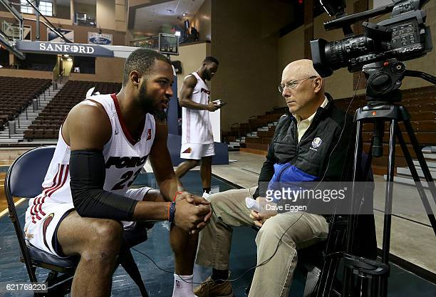 Jabril Trawick left talks with Mark Ovenden from the NBC Affiliate KDLT during the Sioux Falls Skyforce media day at the Sanford Pentagon November 7...