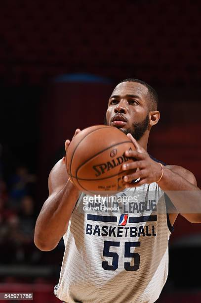 Jabril Trawick of DLeague shoots a free throw against the Milwaukee Bucks during 2016 Summer League on July 10 2016 at the Thomas Mack Center in Las...