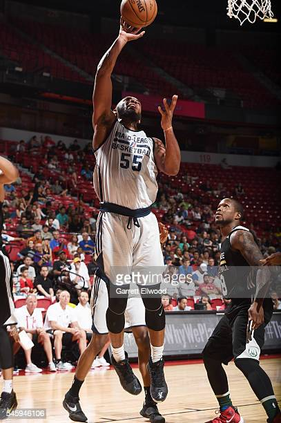 Jabril Trawick of DLeague shoots the ball against the Milwaukee Bucks during 2016 Summer League on July 10 2016 at the Thomas Mack Center in Las...