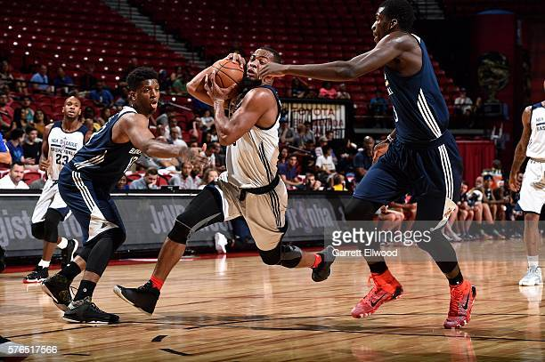 Jabril Trawick of NBA DLeague Select drives to the basket during the game against the New Orleans Pelicans during the 2016 Las Vegas Summer League on...