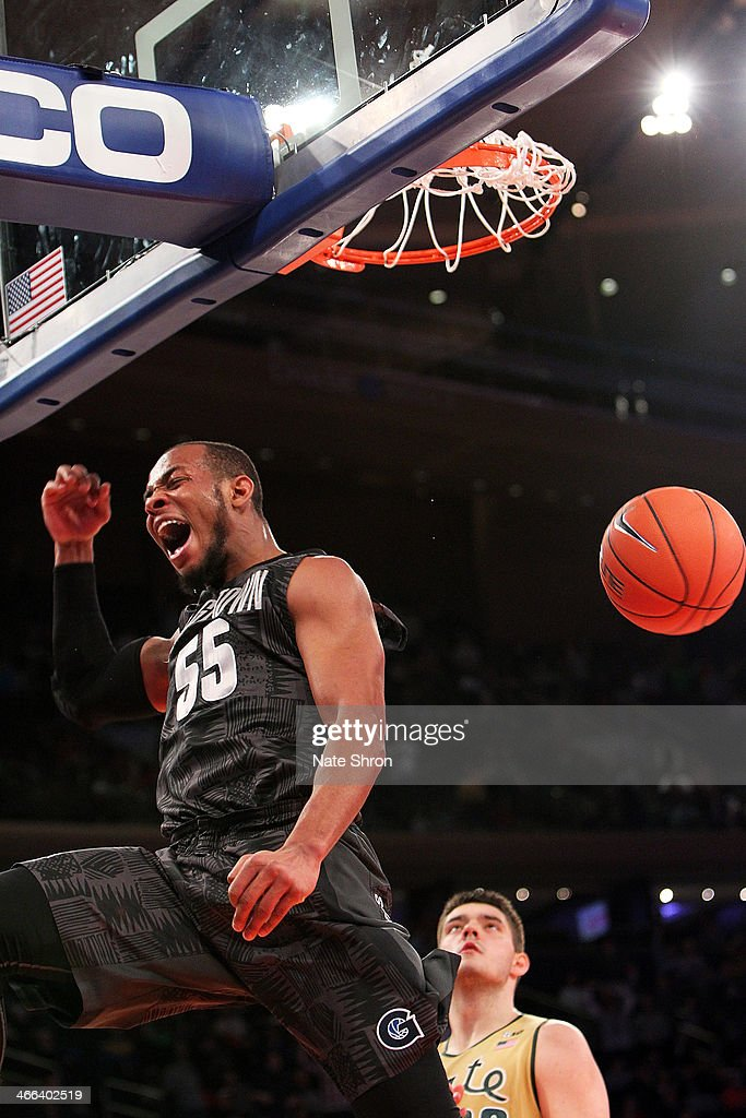 Jabril Trawick #55 of the Georgetown Hoyas cheers after dunking the ball during the game against the Michigan State Spartans at Madison Square Garden on February 1, 2014 in New York City.
