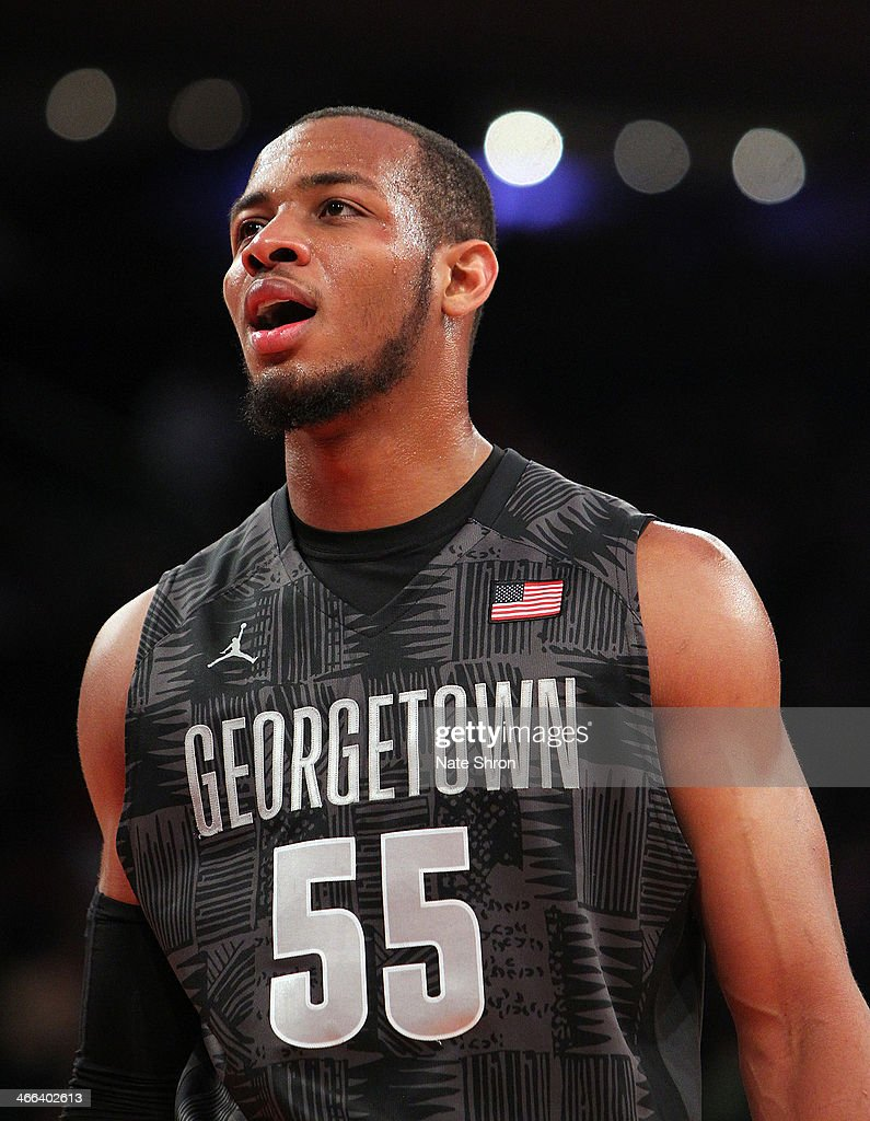 Jabril Trawick #55 of the Georgetown Hoyas looks on during the game against the Michigan State Spartans at Madison Square Garden on February 1, 2014 in New York City.