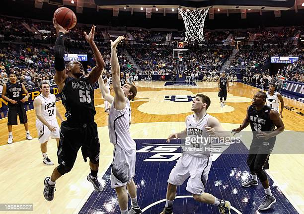Jabril Trawick of the Georgetown Hoyas shoots the ball against Scott Martin of the Notre Dame Fighting Irish at Purcel Pavilion on January 21 2013 in...