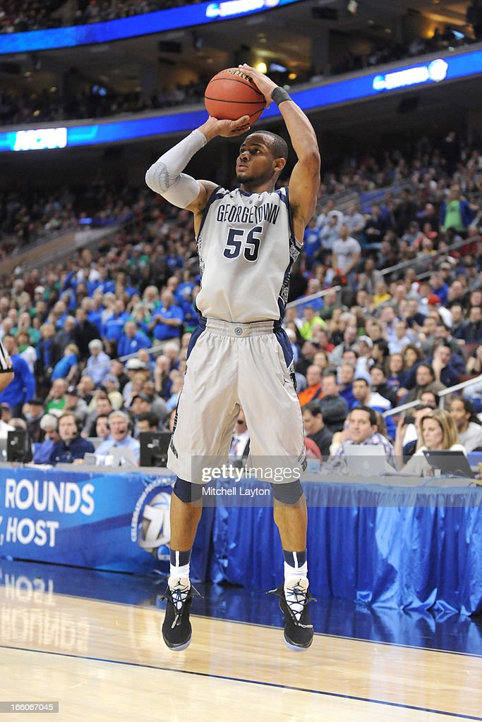 Jabril Trawick #55 of the Georgetown Hoyas takes a jump shot during the second round of the 2013 NCAA Men's Basketball Tournament game against the Florida Gulf Coast Eagles on March 22, 2013 at Wells Fargo Center in Philadelphia, Pennsylvania. The Eagles won 78-68.