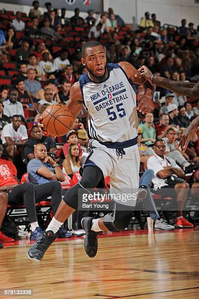 Jabril Trawick of the NBA DLeague Select handles the ball against the Houston Rockets during the 2016 NBA Las Vegas Summer League game on July 11...