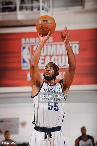 Jabril Trawick of the NBA DLeague Select shoots a free throw against the Houston Rockets during the 2016 NBA Las Vegas Summer League game on July 11...
