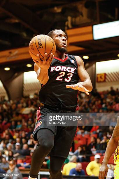 Jabril Trawick of the Sioux Falls Skyforce drives to the basket against the Canton Charge at Canton Memorial Civic Center on January 23 2016 in...