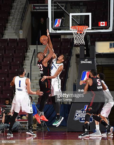 Jabril Trawick of the Sioux Falls Skyforce goes up for the shot against Will Davis of the Reno Bighorns as part of 2017 NBA DLeague Showcase at the...