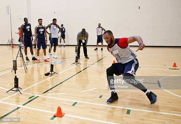 Jabril Trawick runs drills during the NBA Development League seventh annual Elite Mini Camp May 9 2016 at the Quest Multisport gym in Chicago...
