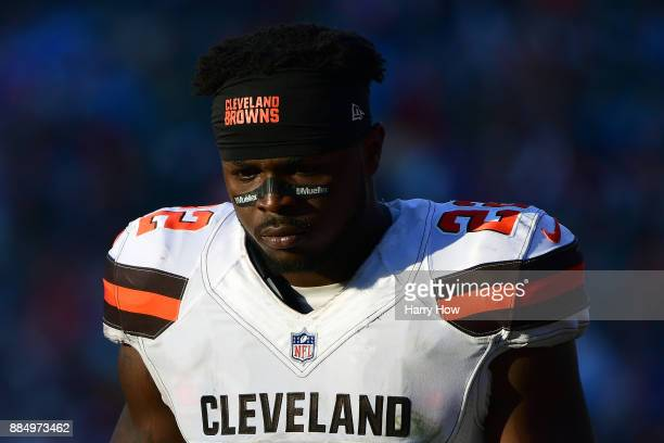 Jabrill Peppers of the Cleveland Browns leaves the game during the game against the Los Angeles Chargers at StubHub Center on December 3 2017 in...