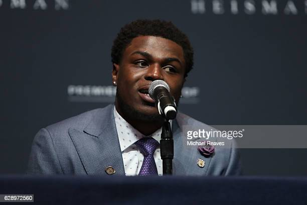 Jabrill Peppers of the Michigan Wolverines answers a question during a press conference prior to the 2016 Heisman Trophy Presentation at the Marriott...
