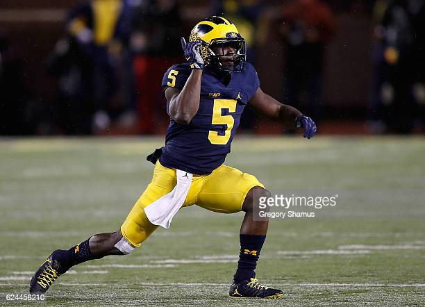 Jabrill Peppers of the Michigan Wolverines celebrates a second half sack while playing the Indiana Hoosiers on November 19 2016 at Michigan Stadium...