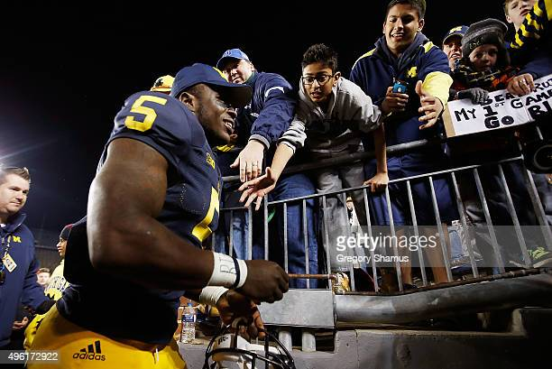 Jabrill Peppers of the Michigan Wolverines leaves the field after a 4916 win over the Rutgers Scarlet Knights on November 7 2015 at Michigan Stadium...