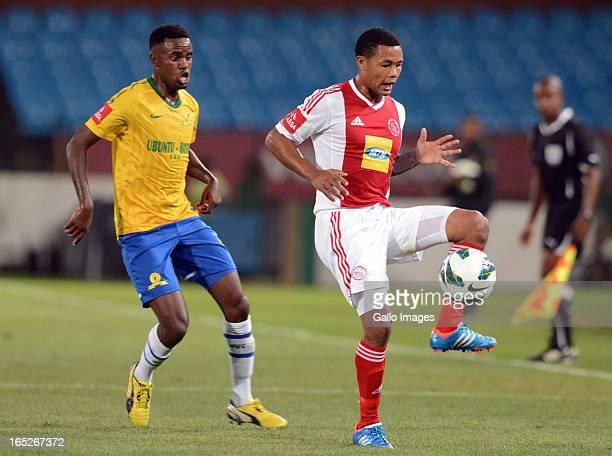 Jabulani Shongwe and Granweld Scott during the Absa Premiership match between Mamelodi Sundowns and Ajax Cape Town at Loftus Stadium on April 02 2013...